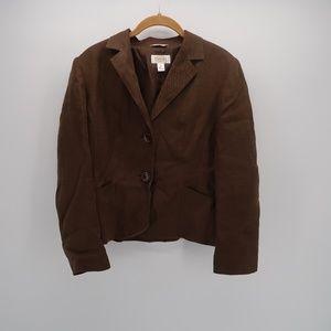 Womens Talbots Linen Brown Blazer Size 8 Petite